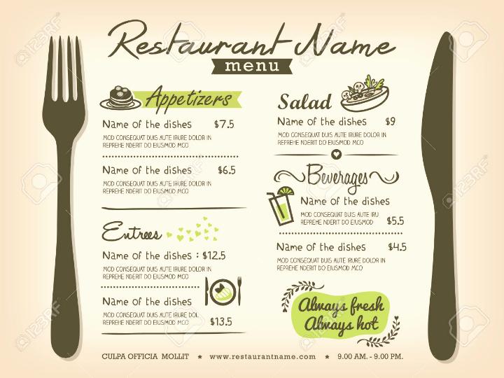 Restaurant Menu Templates Free Download Beautiful 30 Blank Menu Templates Ai Psd Docs Pages
