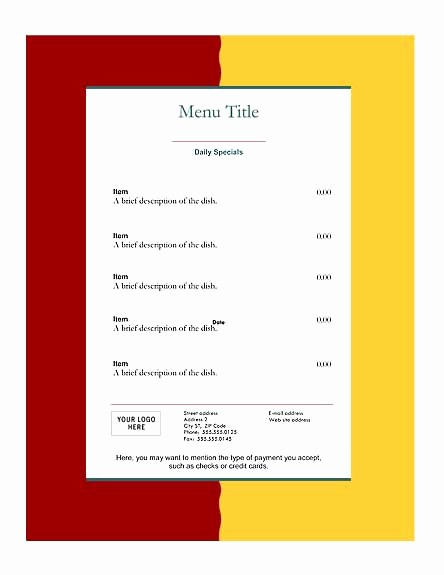 Restaurant Menu Templates Free Download Elegant Download Free Restaurant Menu Templates