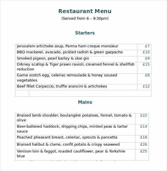 Restaurant Menu Templates Free Download Fresh 32 Word Menu Templates Free Download