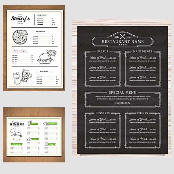 Restaurant Menu Templates Free Download Fresh Restaurant Menu Vector Templates