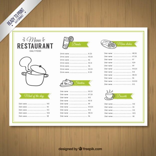Restaurant Menu Templates Free Download Inspirational Sketchy Menu Template Vector