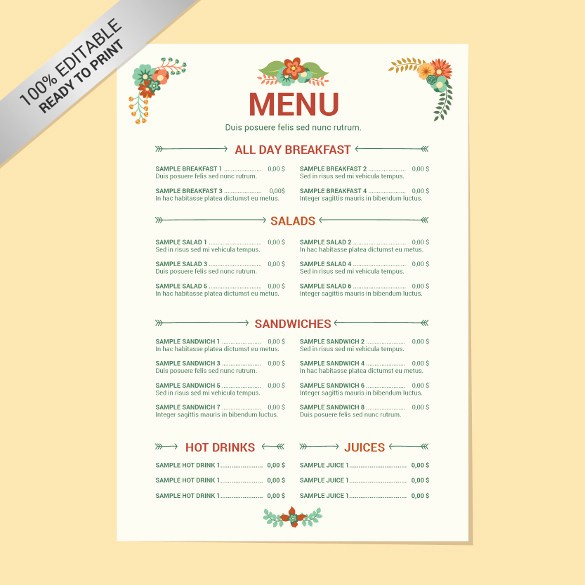 Restaurant Menu Templates Free Download Lovely 24 Free Menu Templates Pdf Doc Excel Psd