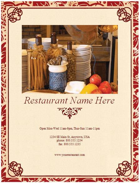 Restaurant Menu Templates Free Download Lovely Restaurant Menu Template 8 Free Restaurant Menus