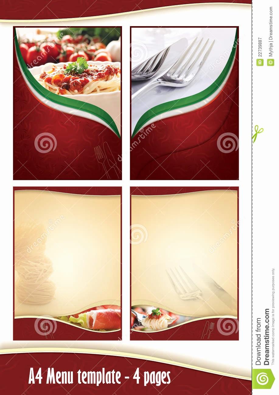 Restaurant Menu Templates Free Download Luxury A4 4 Pages Menu Template Italian Restaurant Stock
