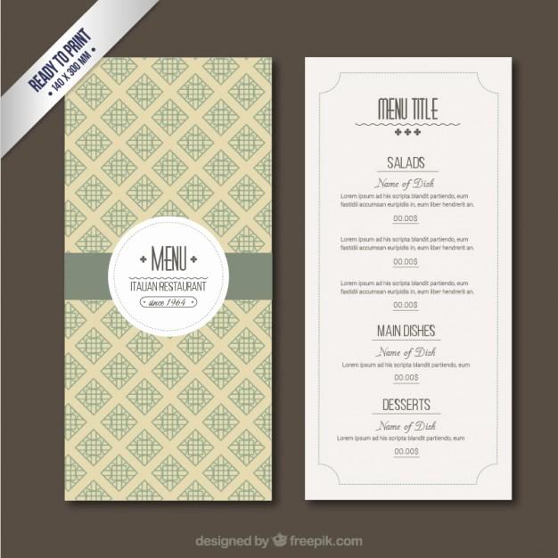 Restaurant Menu Templates Free Download Luxury Retro Menu Template Vector