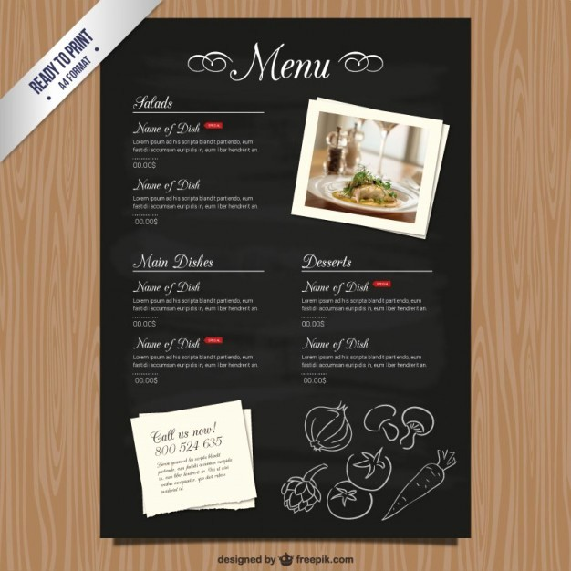 Restaurant Menu Templates Free Download New Cmyk Restaurant Menu Template Vector