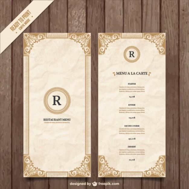 Restaurant Menu Templates Free Download Unique ornamental Menu Template Vector
