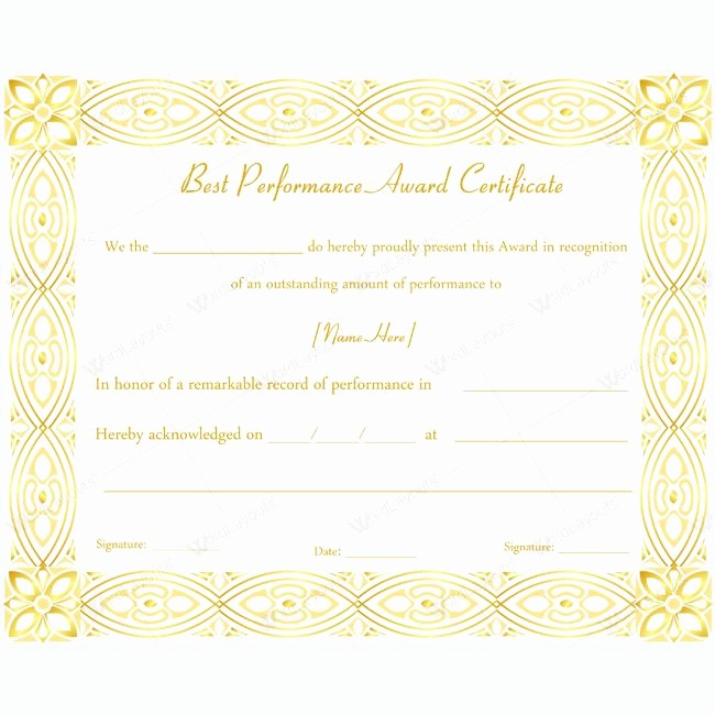 Restaurant P&l Template Elegant Star Performer Certificate Templates Printable Employee