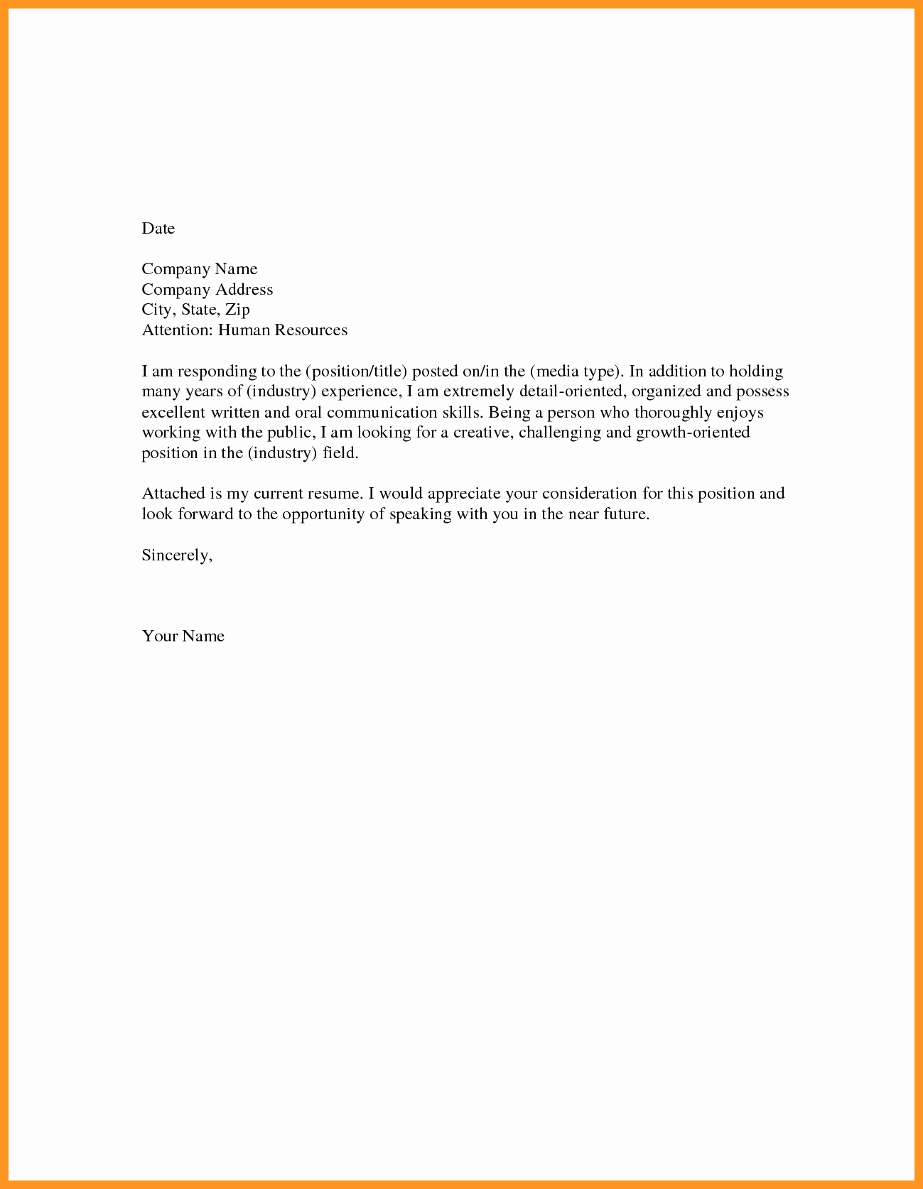 Resume and Cover Letter formats Elegant Resume Cover Letter format Examples