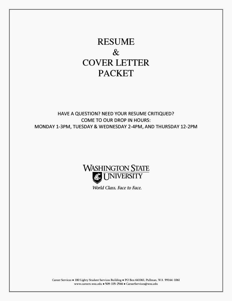 example cover page of resume