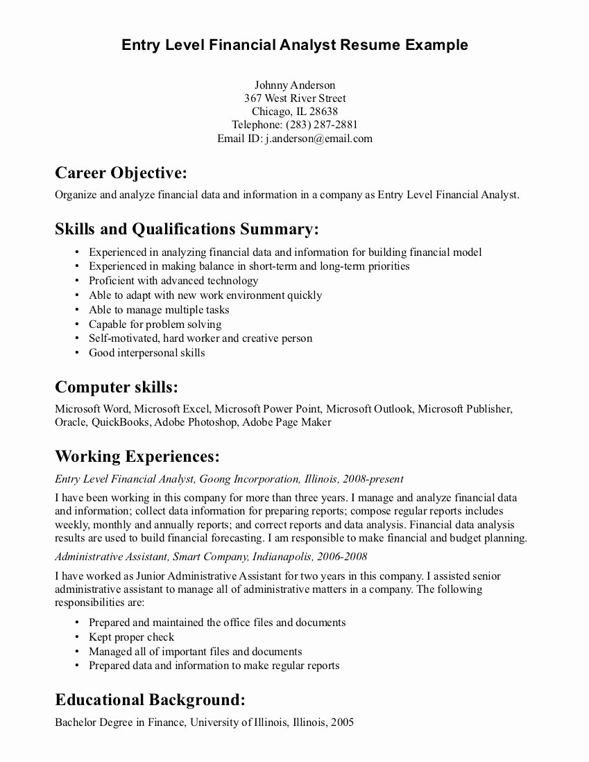 Resume Cover Letter Entry Level Luxury Entry Level Financial Planning Cover Letter