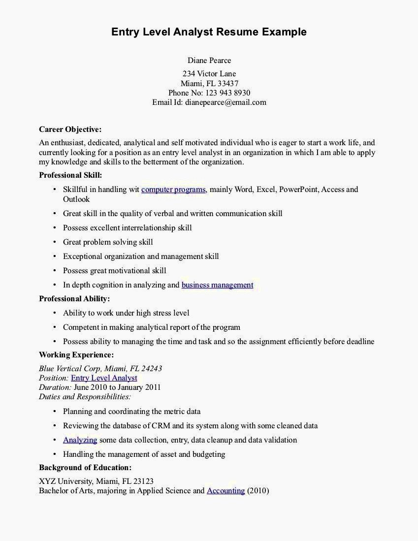 Resume Cover Letter Entry Level New Entry Level Accounting Resume Sample