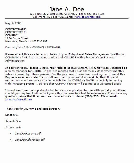 Resume Cover Letter Entry Level New Entry Level Cover Letter
