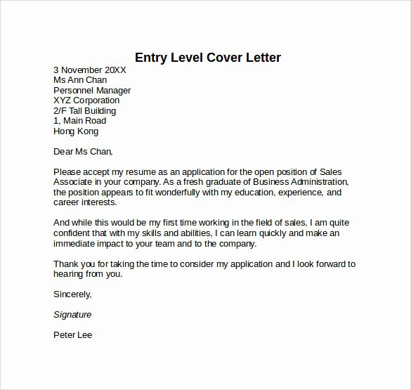 Resume Cover Letter Entry Level Unique 10 Entry Level Cover Letter Templates – Samples Examples