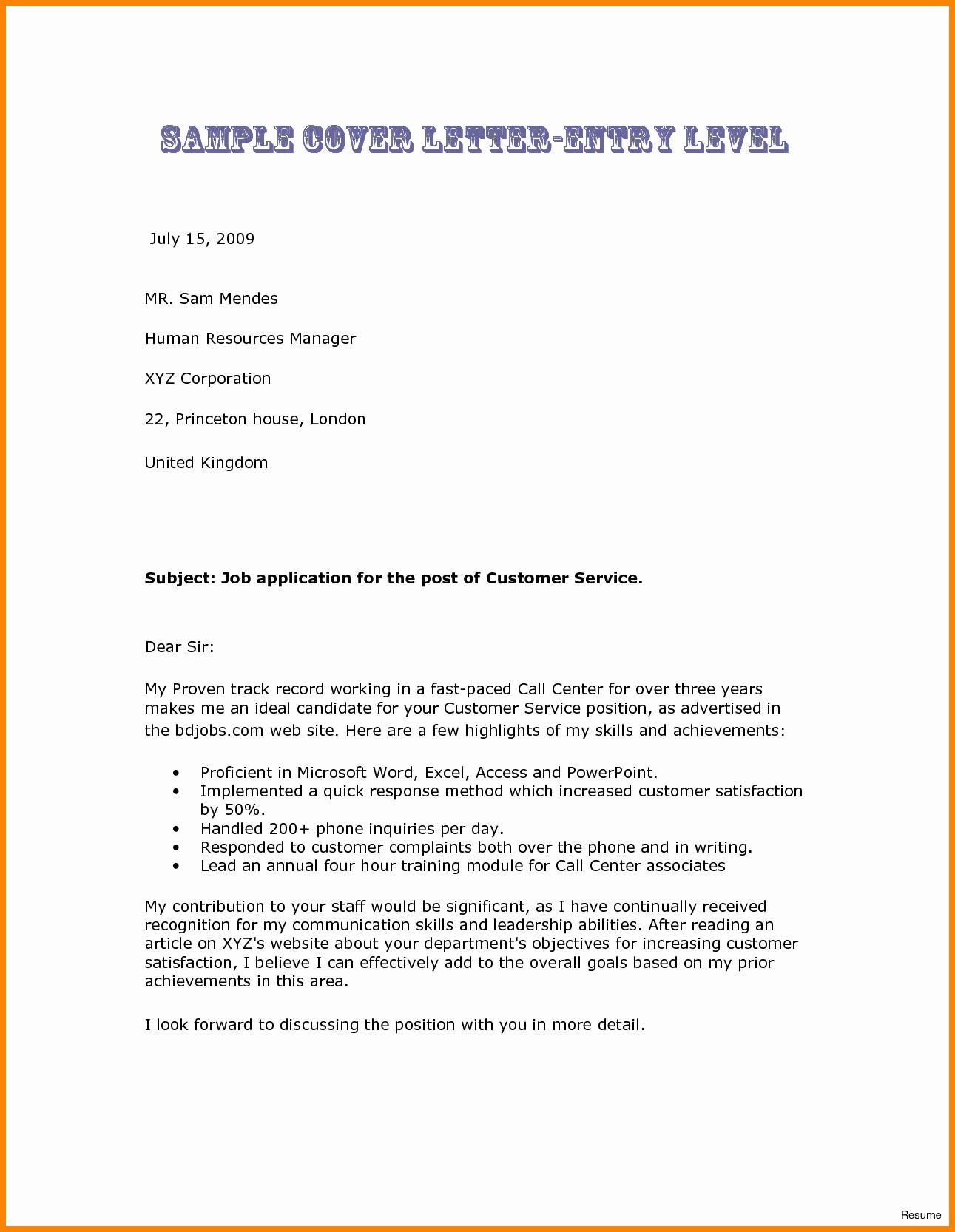 Resume Cover Letter Entry Level Unique 7 Entry Level Nurse Cover Letter