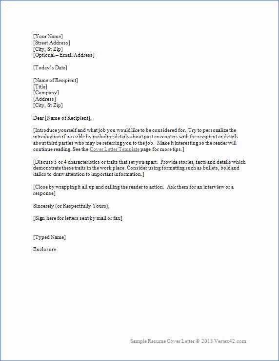 Resume Cover Letter Word Template Fresh Resume Cover Letter Template for Word