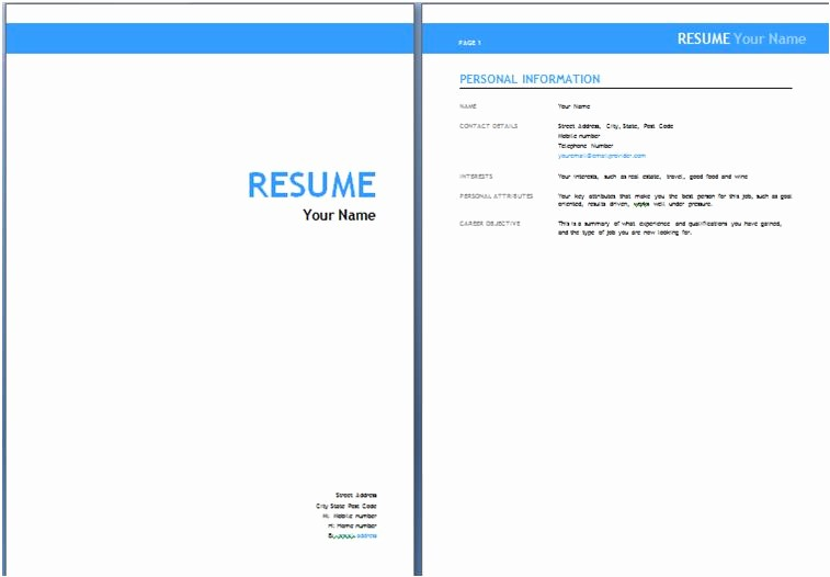 Resume Cover Page Template Free New Australian Resume Templates