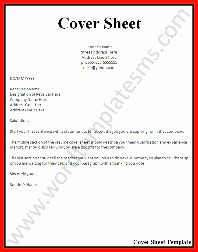 Resume Cover Page Template Free Unique Cover Page Example Resume