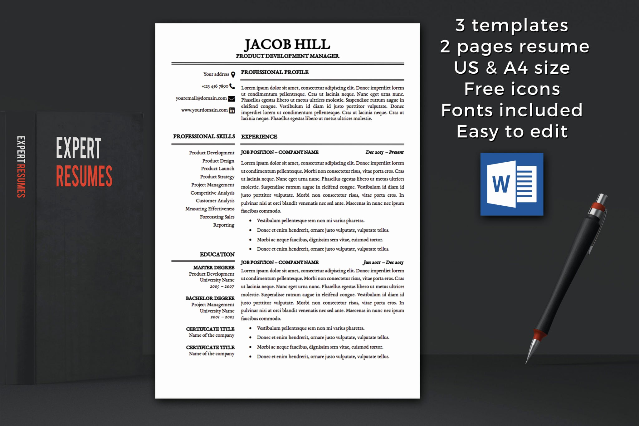 Resume Cover Page Template Word Awesome Resume Template Instant Download