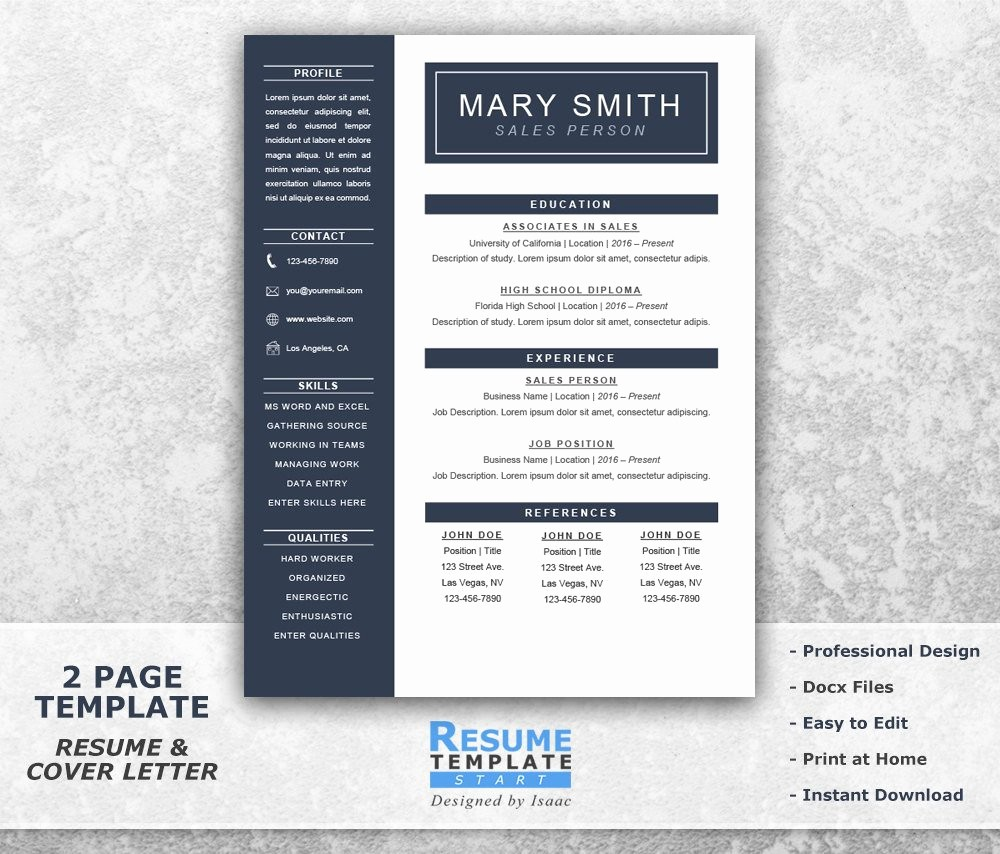 Resume Cover Page Template Word Fresh E Page Resume Template Word Resume Cover Letter Templates