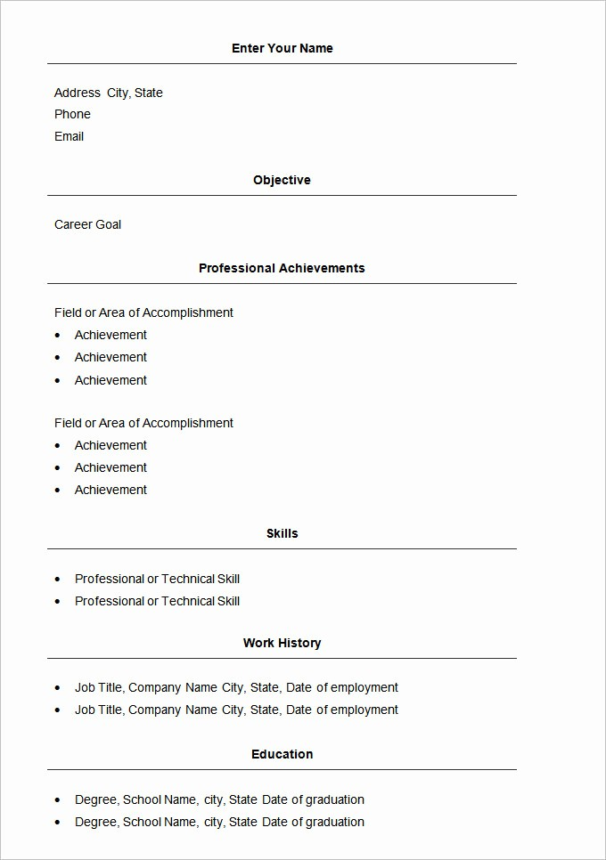 Resume Examples In Word format Beautiful 70 Basic Resume Templates Pdf Doc Psd