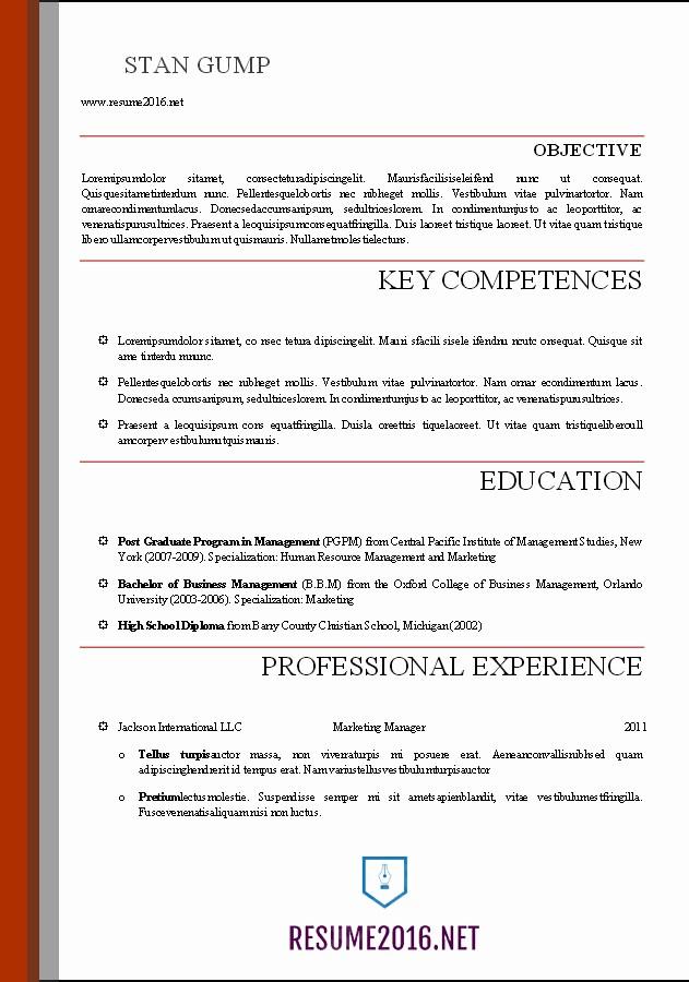 Resume Examples In Word format Elegant Word Resume Templates 2016