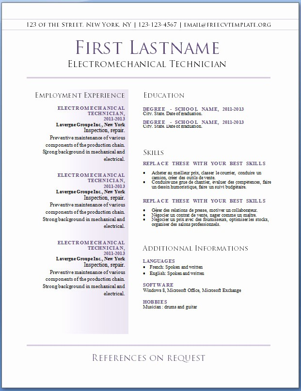 Resume Examples In Word format Fresh Free Cv Templates 36 to 42 – Free Cv Template Dot org