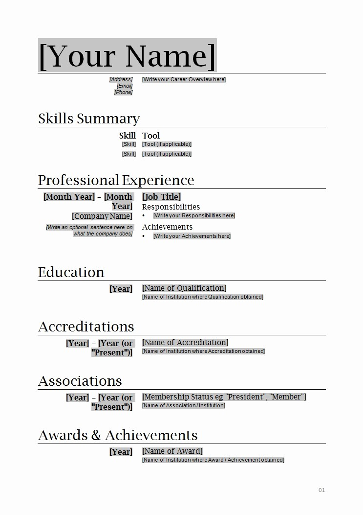 Resume Examples In Word format Fresh Resume format Word