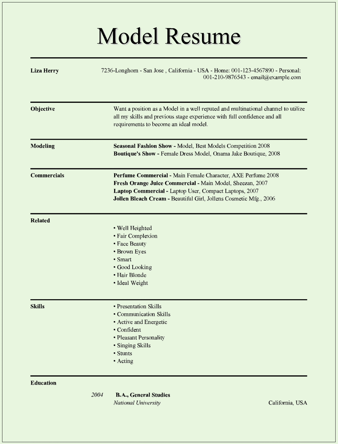 Resume Examples In Word format Unique Model Resume Templates for Ms Word – Free Example format