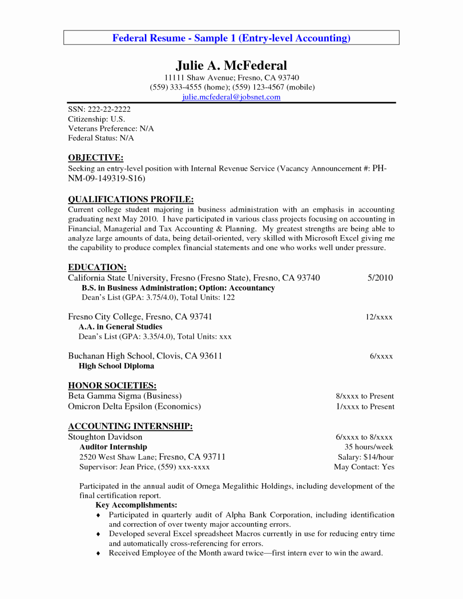 Resume for Entry Level Position Awesome 14 Entry Level Accounting Resume Objective