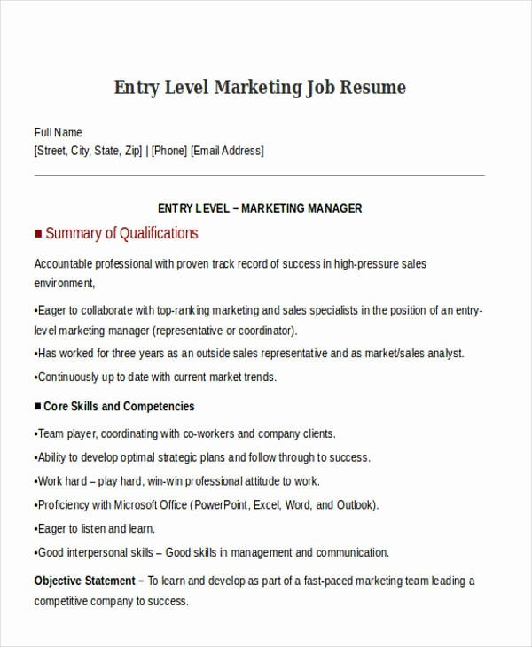 Resume for Entry Level Position Awesome 30 Simple Marketing Resume Templates Pdf Doc