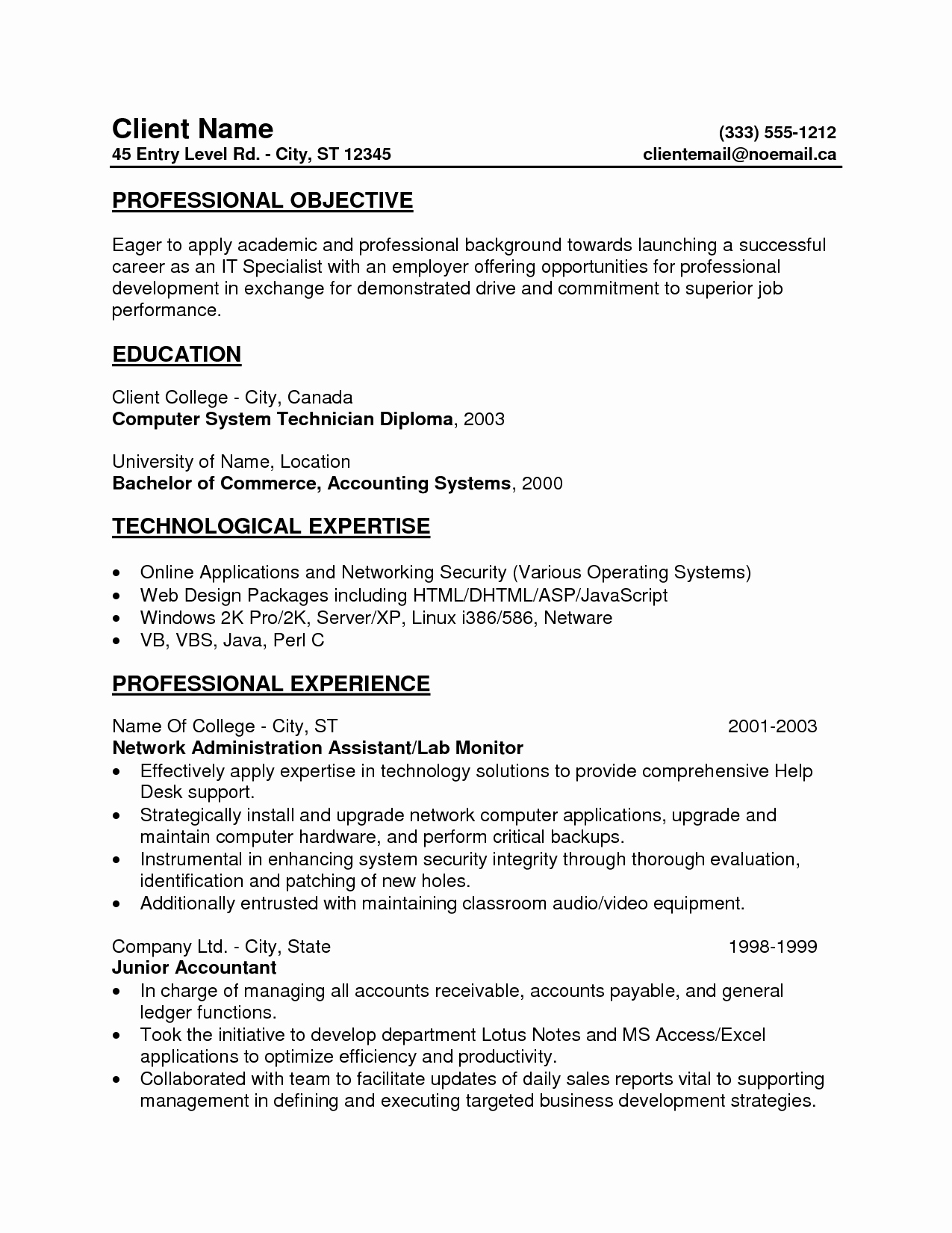 Resume for Entry Level Position Awesome Free Entry Level Resumes Samplebusinessresume