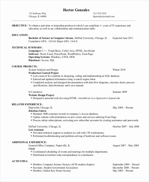 Resume for Entry Level Position Best Of 9 Entry Level Resume Examples Pdf Doc