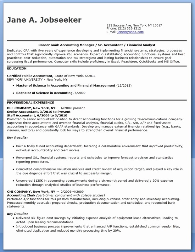 Resume for Entry Level Position Best Of Cpa Resume Sample Entry Level