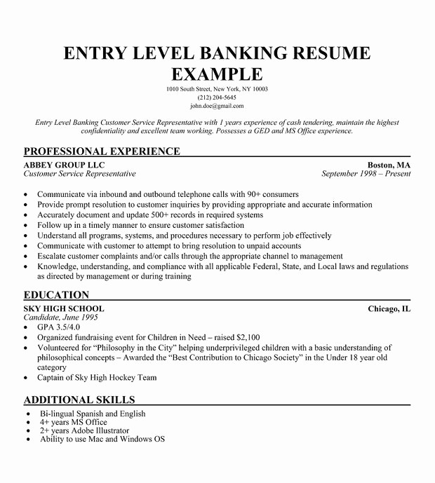Resume for Entry Level Position Best Of Sample Resume for Entry Level Bank Teller