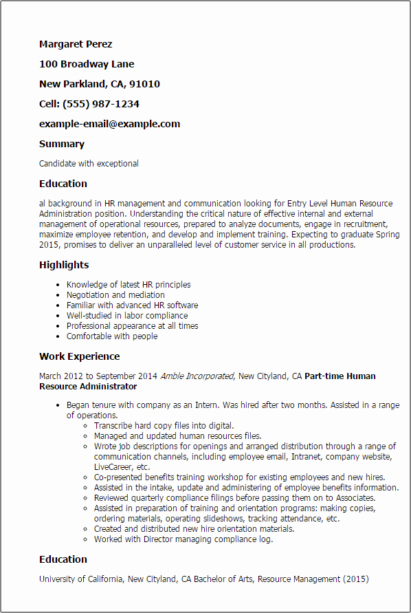Resume for Entry Level Position Elegant Entry Level Human Resource Administration Resume Template