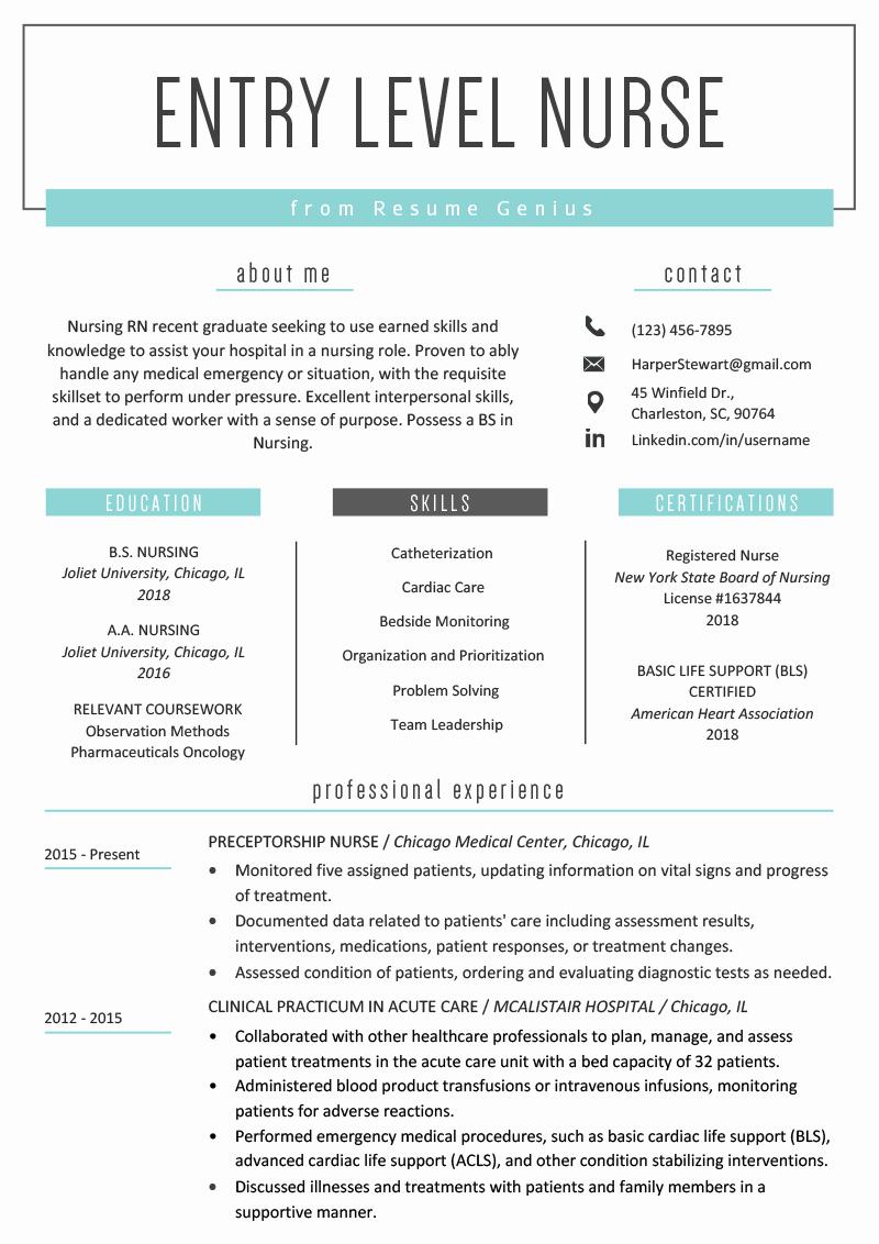 Resume for Entry Level Position Lovely Entry Level Nurse Resume Sample