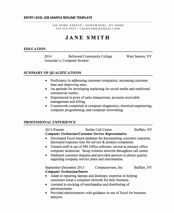 Resume for Entry Level Position New 21 Basic Resumes Examples for Students