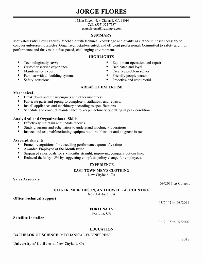 Resume for Entry Level Position New Best Entry Level Mechanic Resume Example