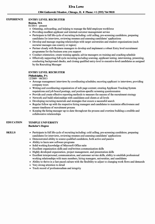 Resume for Entry Level Position New Entry Level Recruiter Resume Samples