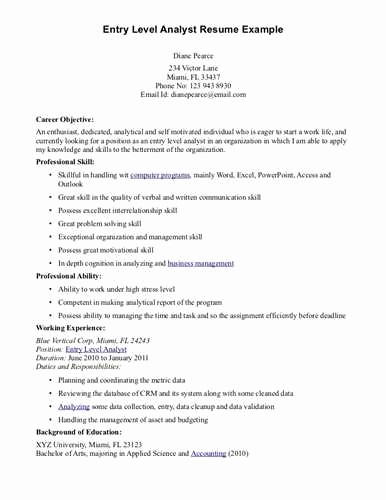 Resume for Entry Level Position New Resume Objective Examples for Entry Level Positions