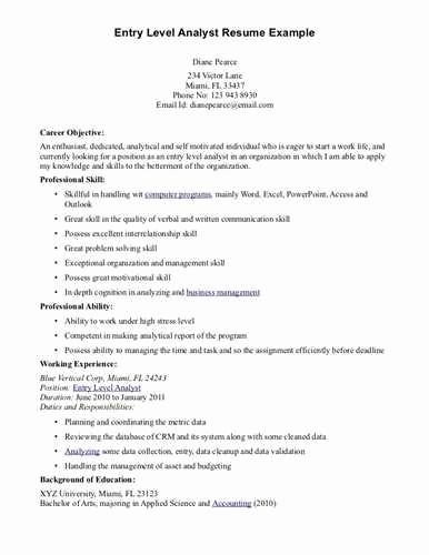 Resume for Entry Level Position New Resume Objective Examples for Entry Level Positions