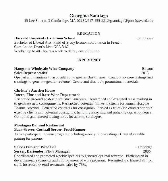 Resume for Internal Promotion Template Awesome Bartender Resume