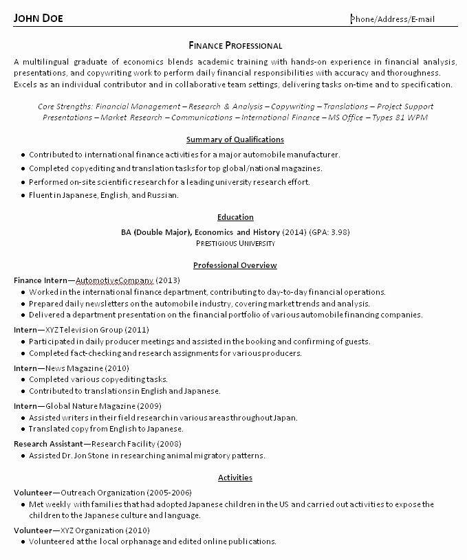 Resume for New College Graduate Best Of College Grad Resume Examples and Advice