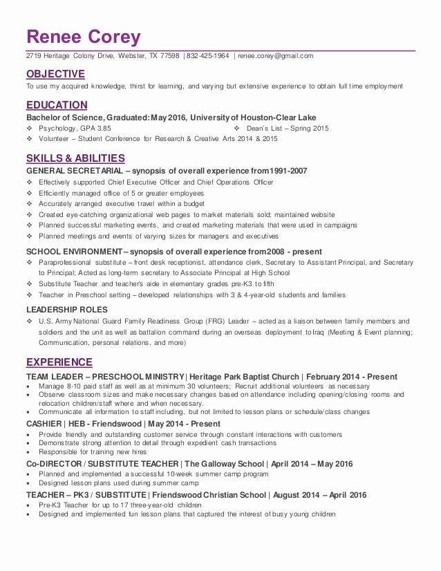 Resume for New College Graduate Elegant Recent College Graduate In Psychology Resume