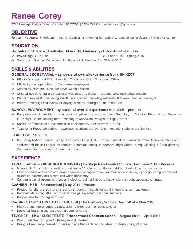 Resume for New College Graduate Elegant Recent College Graduate In Psychology Resume
