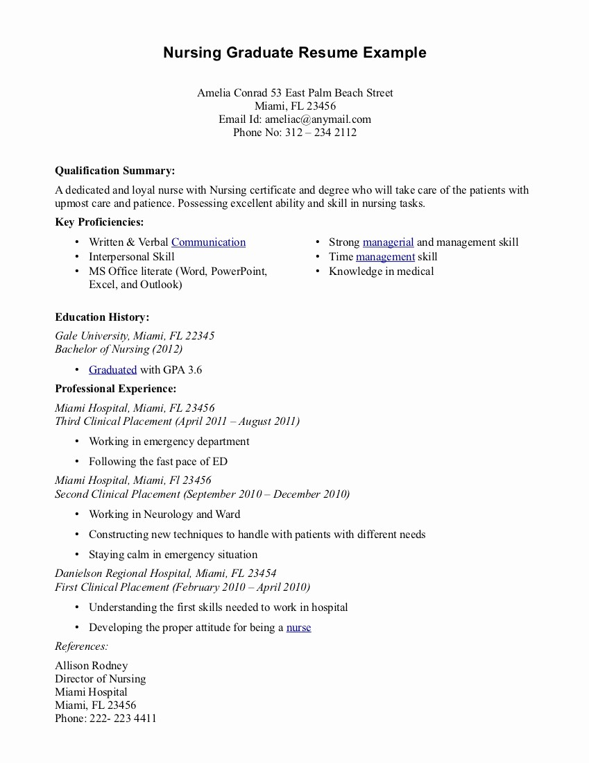 Resume for New College Graduate Inspirational Nursing Grad Resume