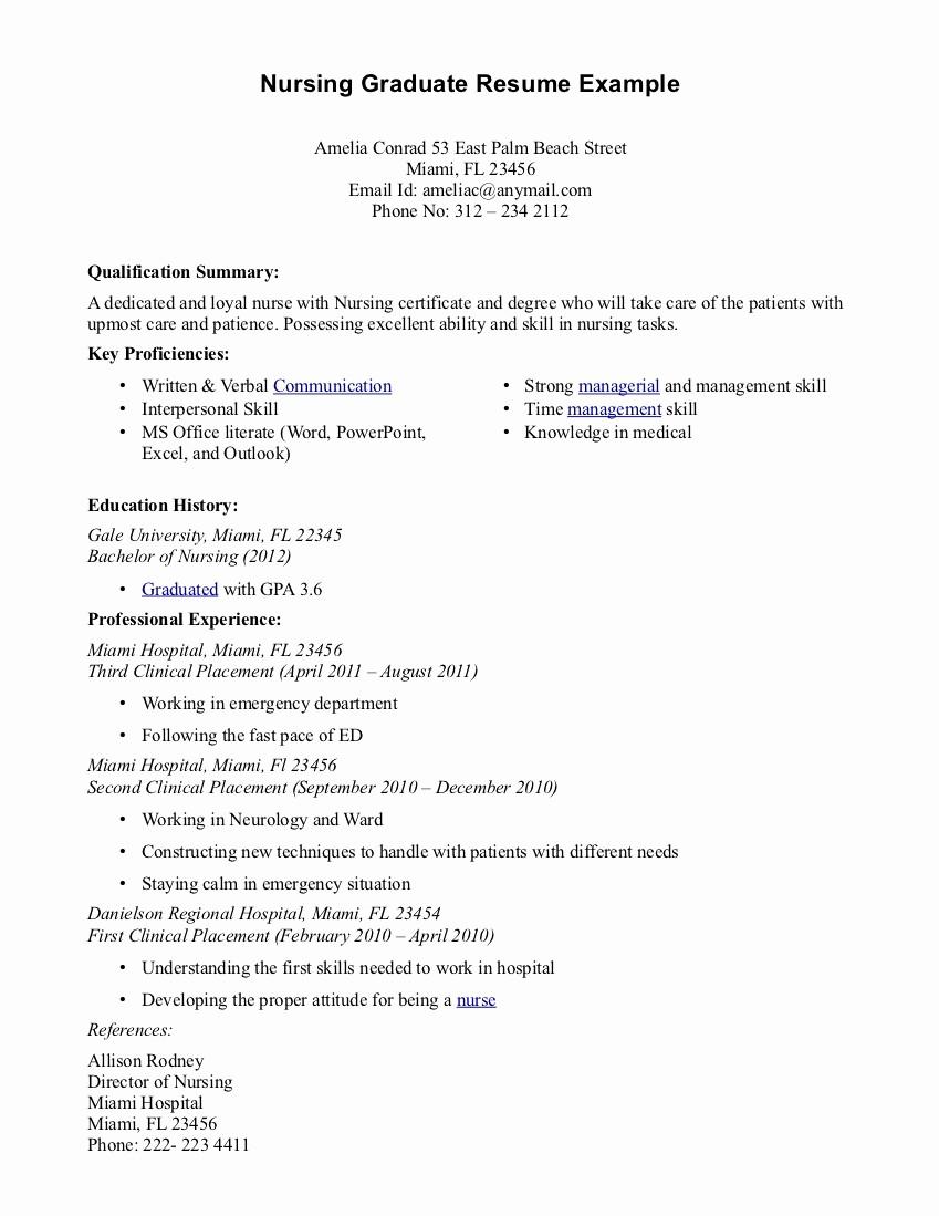 Resume for New College Graduate Inspirational Nursing Grad Resume