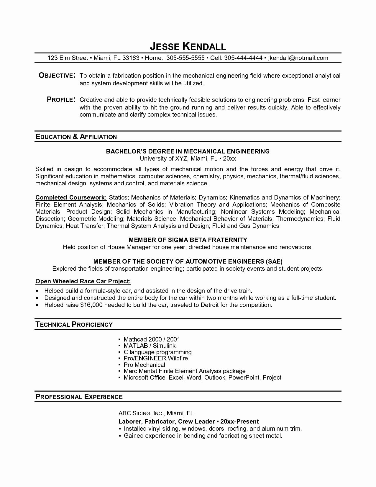 Resume for New College Graduate Lovely Profile Resume Recent Graduate Sidemcicek