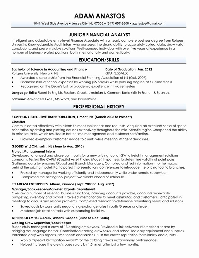 recent graduate resume sample